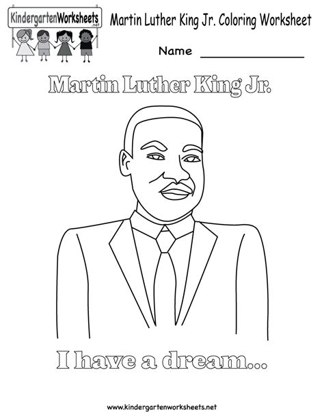 Martin Luther King Coloring Pages For Kindergarten free printable coloring worksheet on mlk