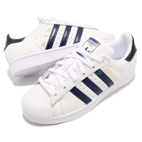 adidas originals superstar white navy blue casual shoes sneakers b41996 ebay