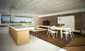 Open Floor Plan Ideas modernes interieur im bungalow mit sichtbetondecke