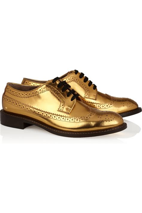 golden oxford shoes marni laminated derby brogue in metallic lyst