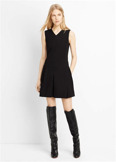 Pleated Dress 16091 Black lyst vince pleated v neck dress in black