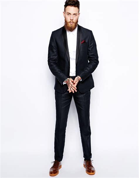 Asos Slim Fit Tuxedo Suit Jacket In 100% Linen in Blue for