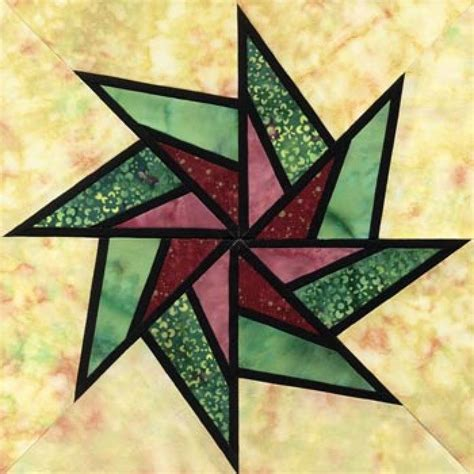 stained glass whirling star quilt block pattern quilts