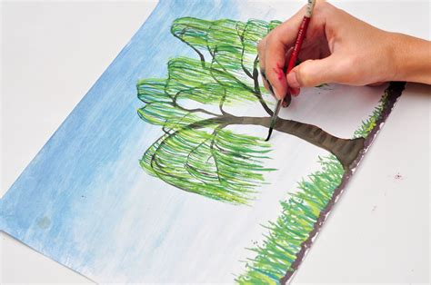 how to paint how to paint a weeping willow 4 steps with pictures