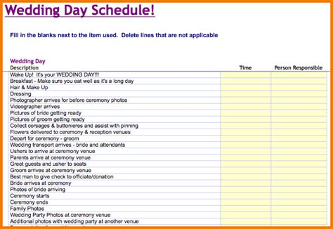 wedding planner timeline template wedding day timeline template cyberuse