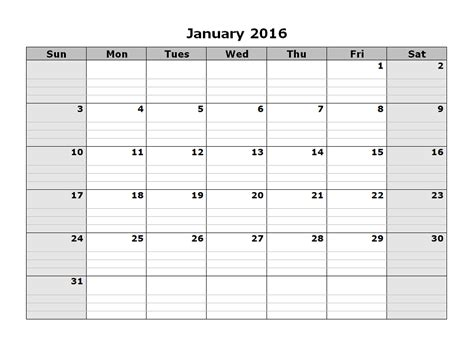 printable monthly calendar january 2016 2016 monthly calendar printable activity shelter