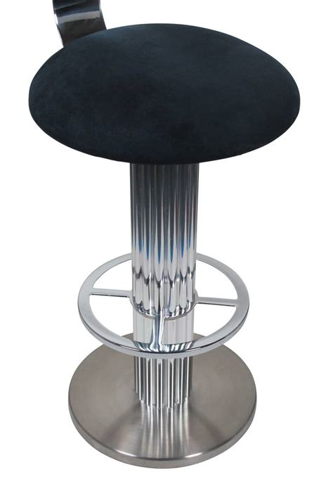 Blue Suede Bar Stools by Pair Of Nickel Plated Swivel Bar Stools By Designs For