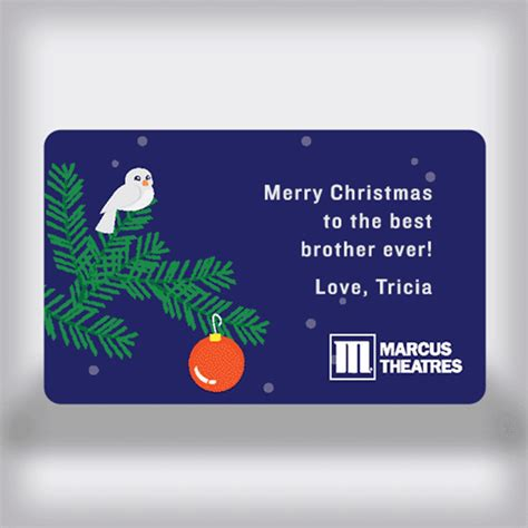 Movie Theatre Gift Card - marcus theatres holiday custom movie gift card bird in tree edition