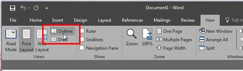 Microsoft Word 2016 Outline View how to create a master document and add subdocuments in ms word 2016