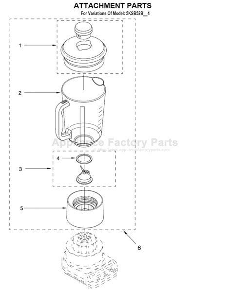 kitchen aid appliance parts parts for 5ksb52bgr4 kitchenaid small appliances