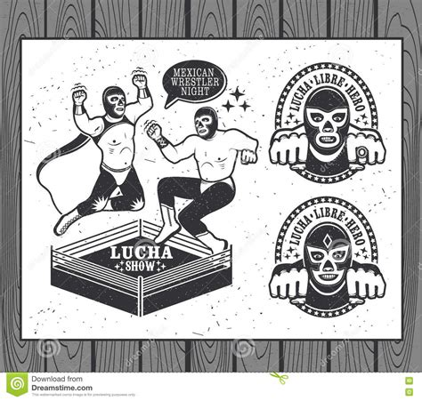 Vintage Lucha Libre Vector Tickets With Mexican Vector Illustration Cartoondealer Com 65407240 Lucha Libre Poster Template