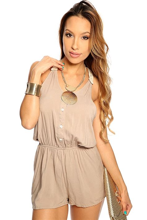 Taupe Summer by Taupe Sleeveless Crochet Casual Summer Romper