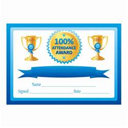 100 Attendance Certificate Template by Blue 100 Attendance Certificates For Teachers