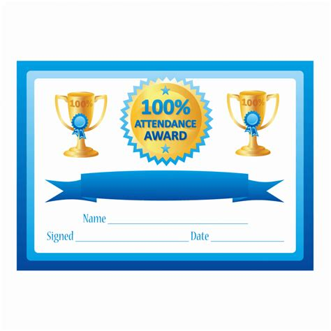 100 attendance certificate template blue 100 attendance certificates for teachers