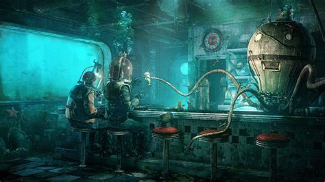 artwork fantasy art science fiction fallout underwater