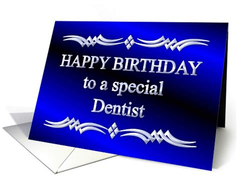Happy Birthday Wishes For Dentist Happy Birthday Dentist Blue And Silver Card 1149298
