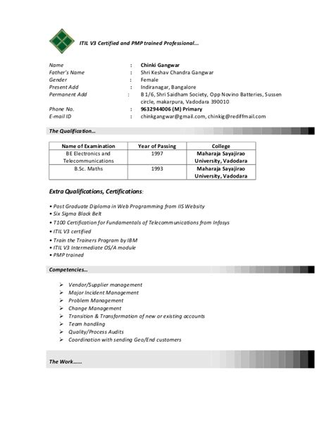 itil certified resume resume ideas