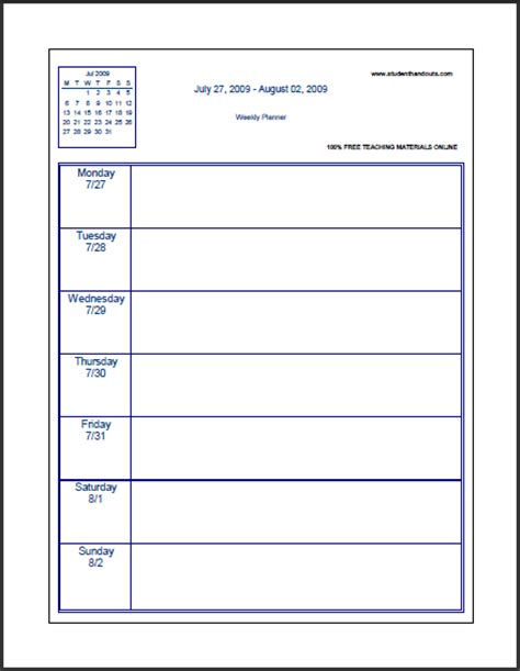 academic study template printable student planner calendar template 2016