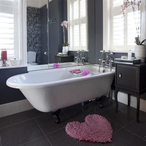 black and white bathroom wallpaper uk modern black bathroom with classic floral wallpaper