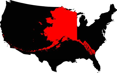 alaska map compared to us file alaska compared to the united states map png
