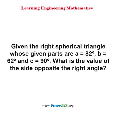 solved what is the correct solution what is the value of the opposite the right