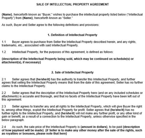 intellectual property agreement template intellectual property contract template