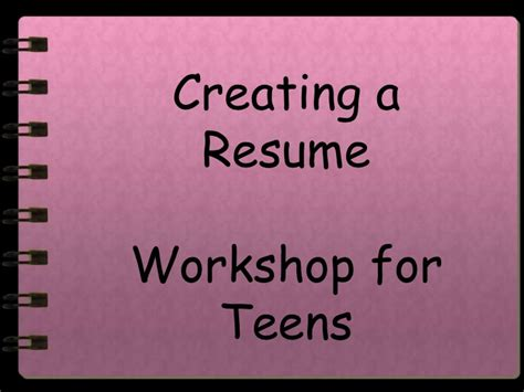First Time Job Resume by Resume Writing For Teens
