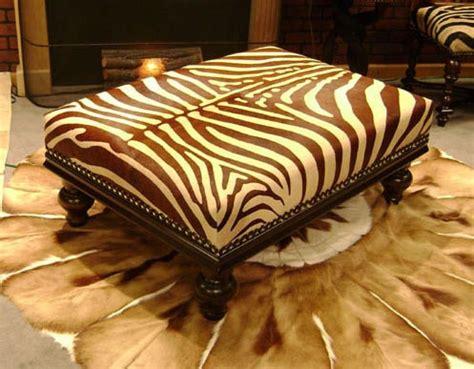 brown zebra ottoman brown stenciled zebra cowhide ottoman w crown moulding
