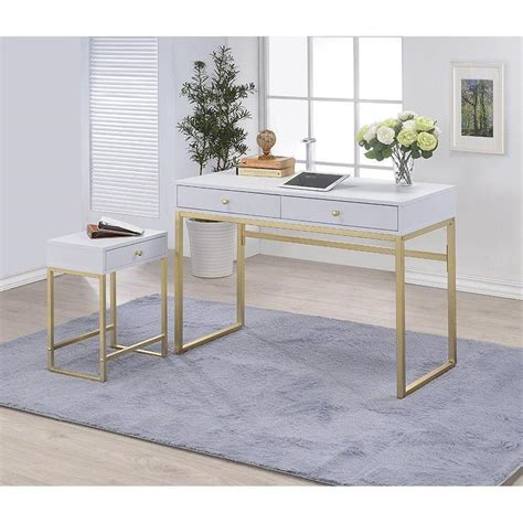 white and gold writing desk coleen white gold accent writing desk