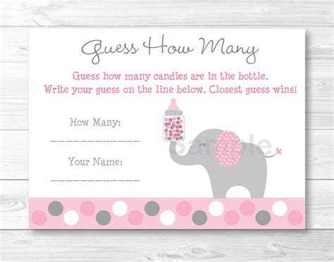 free template for name card elephant pink gray polka dot elephant printable baby shower quot guess