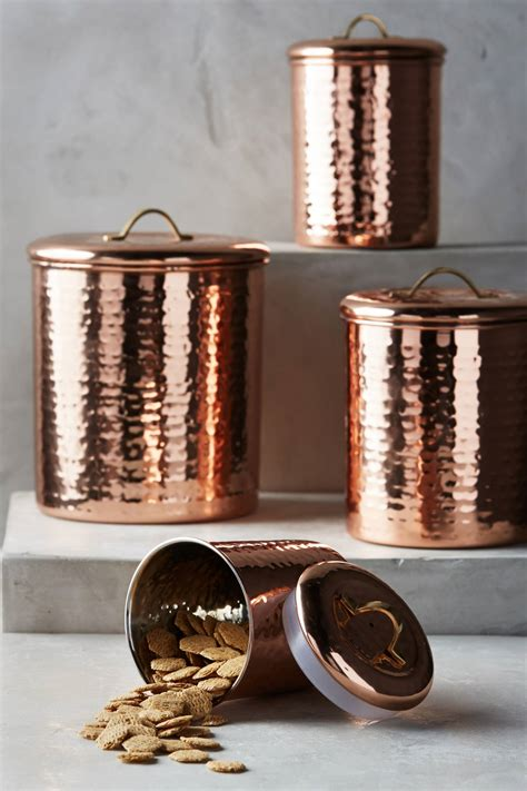 copper canister for a kitchen barh and beyond in greenville nc copper plated canister set anthropologie