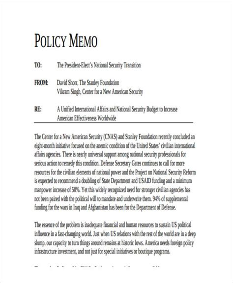 policy change memo template 14 formal memo exles sles