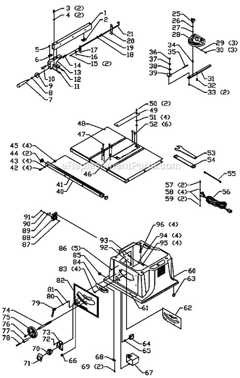 delta bench saw parts delta 36 550 parts list and diagram type 1