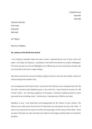 Complaint Letter Ks2 Formal Letters Of Complaint By Thrichmond Teaching Resources Tes