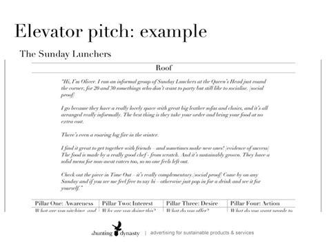 effective communication and the elevator pitch hunting dynasty