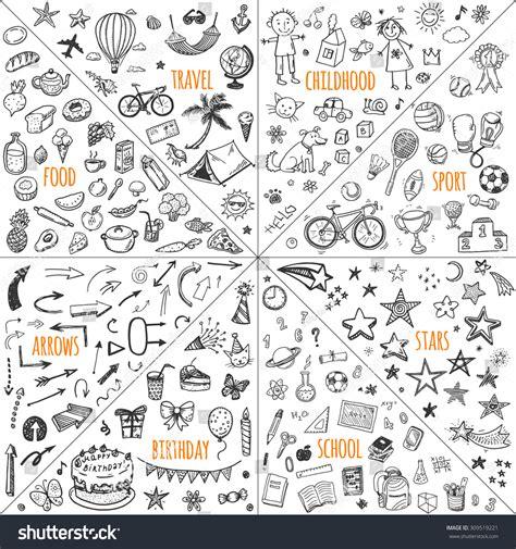 how to create elements in doodle mega doodle design elements vector set stock vector