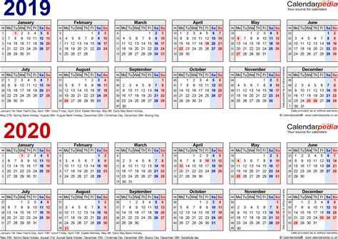Kalender 2020 Pdf Two Year Calendars For 2019 2020 Uk For Pdf