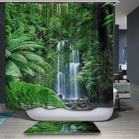 arrivals shower curtain nordic nature forest theme
