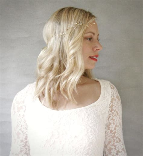 wedding hair and wavy simple gold and freshwater pearl wavy bridal hair vine