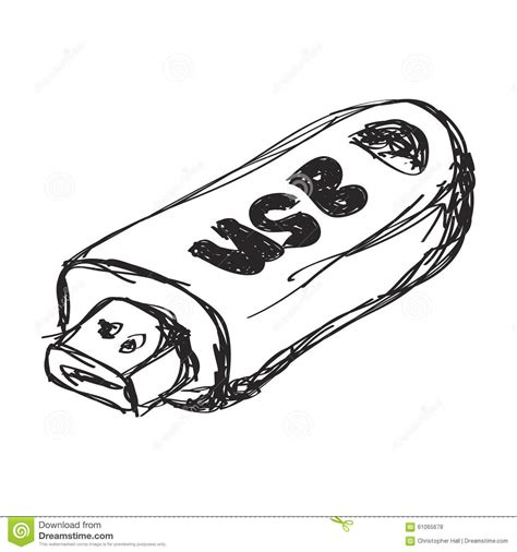 doodlebug usb simple doodle of a usb stick stock illustration image