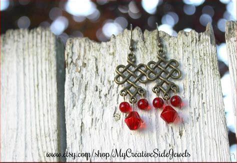 Redknot Manacle Brown Irland celtic knot chandelier earrings handmade jewelry etsy shop https www etsy shop