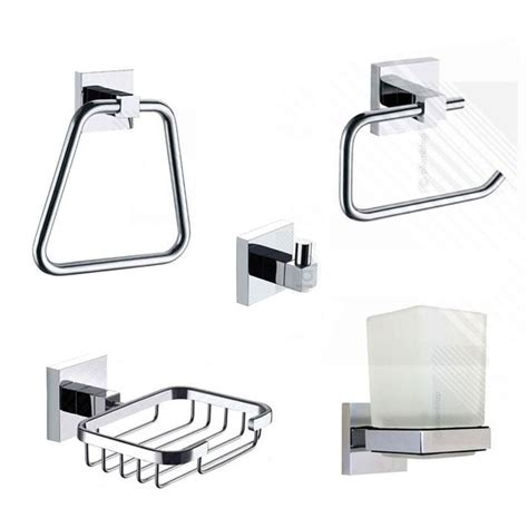 bathroom towel rails and toilet roll holders ecospa 5 piece bathroom set in chrome soap dish tumbler