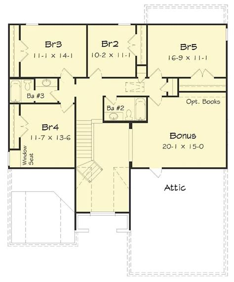 five bedrooms plus a bonus room 68035hr architectural