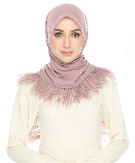 New Khimar Aisya ruffle feather swarovski naelofar more