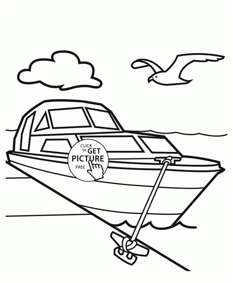 boat outline printable yacht in dock coloring page for kids transportation