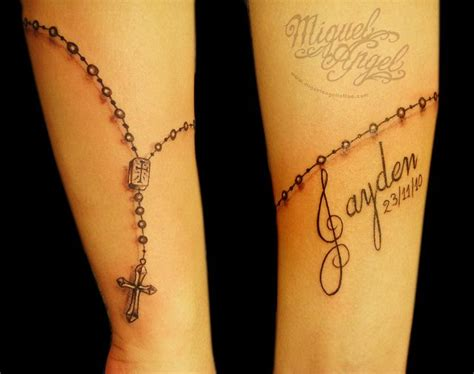 rosary beads tattoo wrist freehand rosary and name get inked its