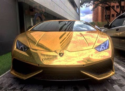 Ariza Gold gold chrome lamborghini huracan on instagram
