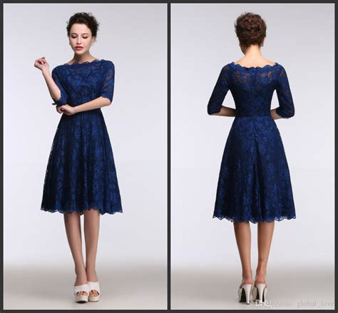 Dress Model A Line 2017 lace royal blue evening dresses knee length real