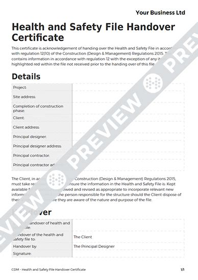 cdm health and safety file template health and safety file handover certificate cdm template