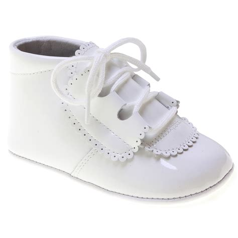 lace up baby boys white patent pram shoes made 100